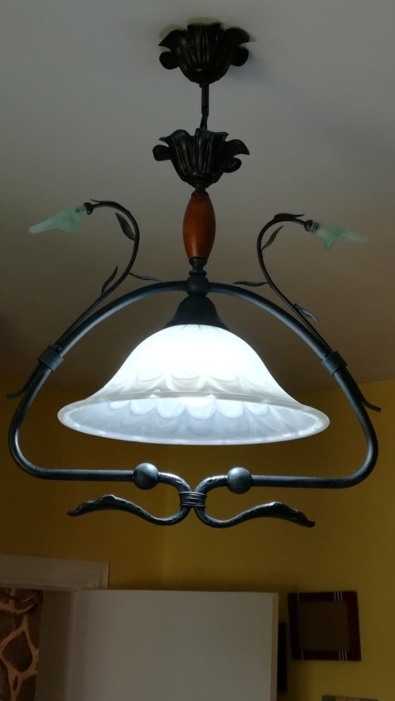 Lámpara hierro forjado y cristal