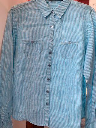 Camisa Azul Mujer Botones de rayas