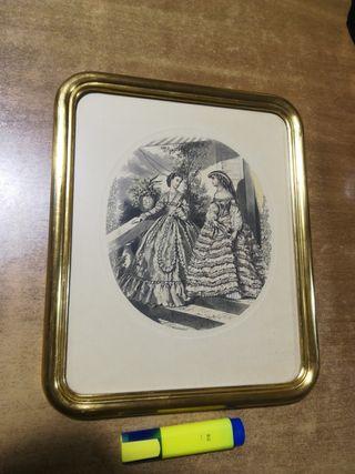 Cuadro antiguo vintage Marco dorado