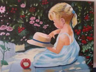 pintura al óleo en lienzo