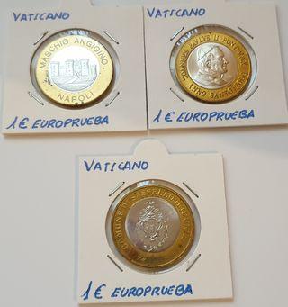 Tres monedas de euro del Vaticano. Europruebas