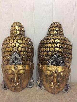 Máscara Buda de madera tallada a mano