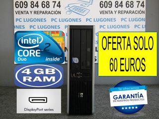 ORDENADOR HP CORE 2 DUO 4 GB RAM WINDOWS 10