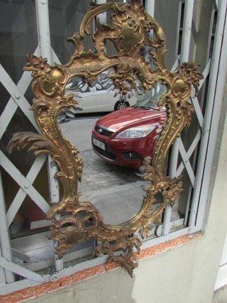 Espejo antiguo bronce cristal biselado 72 cms
