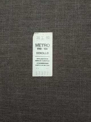 de los primeros billetes de metro de Madrid