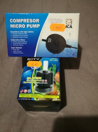 Filtro esponja + compresor de aire