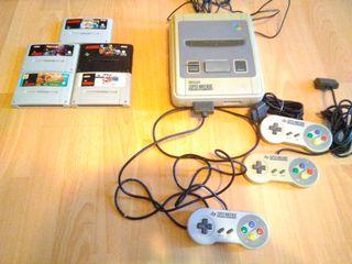Super Nintendo con 5 juegos