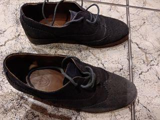 zapatos piel azul marino Massimo dutti