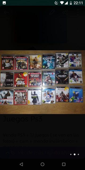 play station 3 + 17 juegos Ps3