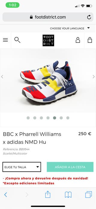 BBC x Pharrell Williams x adidas NMD Hu talla 43