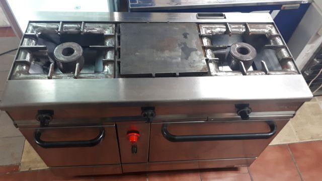 Cocina industrial 2 fuegos+ plancha y horno