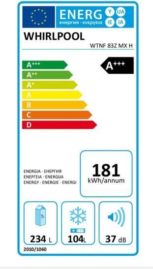 FRIGORÍFICO COMBI WHIRLPOOL A+++ INOX