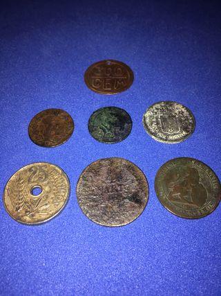 Lote 7 monedas antiguas de colección