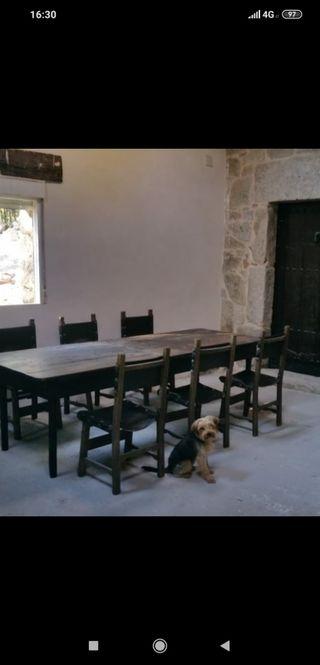 Mesa para bodega + 6 sillas
