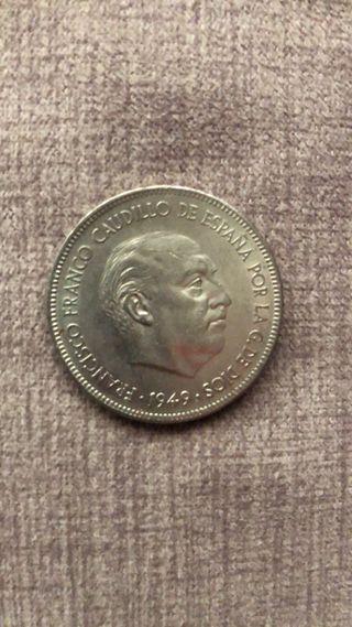 Cinco pesetas 1949 CECA 50