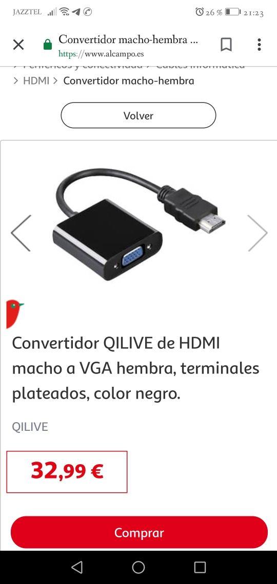 cable Vga hembra a hdmi macho