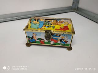 Antiguo juguete antiguo lata litografiada a color