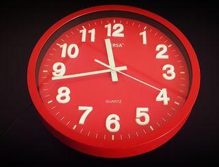 Reloj de cocina pared rojo