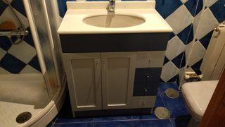 Mueble de baño Azul con encimera de marmol
