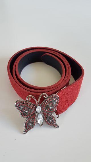 cinturon ante piel rojo