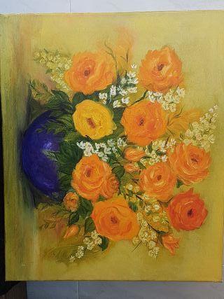 Flores originales en lienzo