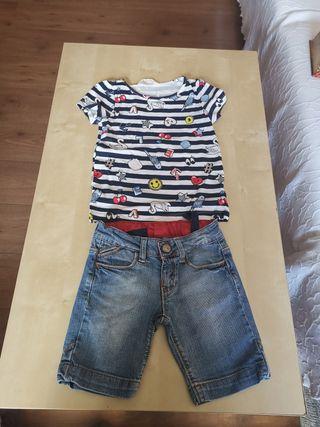 camiseta y pantalon niña t/4/5años