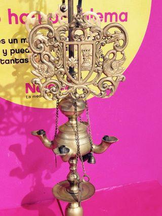 VELON LAMPARA ACEITE BRONCE COMIENZOS S.XX