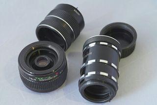 Teleconversor Tokina 2x M42 con tubos extensores
