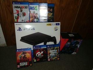 PlayStation 4 Slim de 1 Tb + 7 juegos + 2 mandos +
