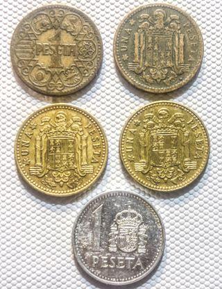 5 monedas Españolas de 1 peseta 1944-1988