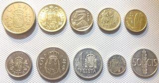 Lote de 10 monedas de España 1966-1992