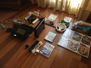 Wii U 32GB+9 juegos+funda+carg. mandos+motion plus