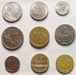 Lote 9 monedas Francesas raras de 1943-2006