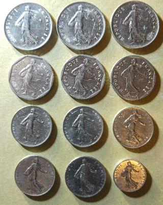 Lote de 12 monedas Francesas semeuse de 1960-1986