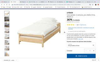 Dos camas y colchones individuales apilables Ikea.