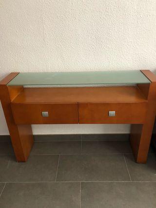 Mueble entrada con espejo color cerezo