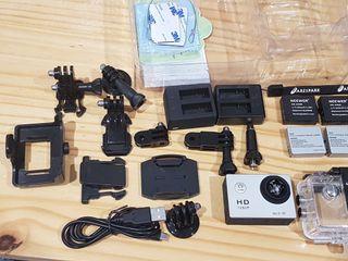 Action cam rota + accesorios (tipo GoPro)
