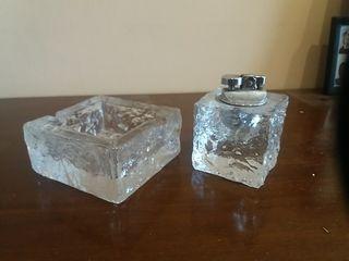 cenicero con mechero cristal