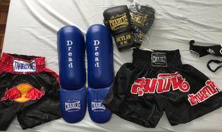 Lote de guantes boxeo, pantalones muay thai