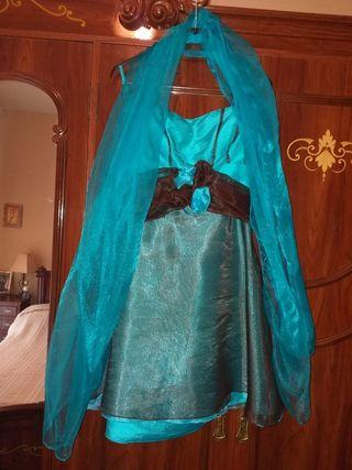 Vestido de fiesta Turquesa y marrón