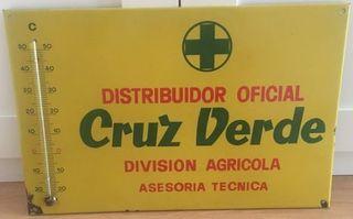 Placa Metálica Cruz Verde con termómetro