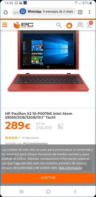 portatil tactil tablet hp