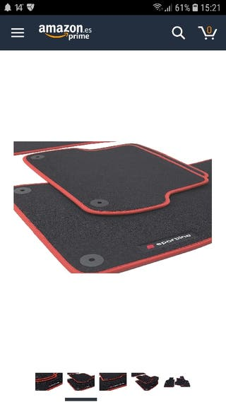Set alfombras negra/roja