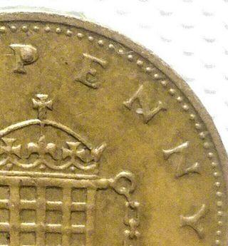 1penny Coin 1985 exceso de material en letra P