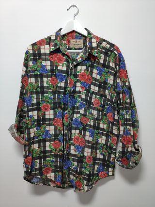 Camisa Vintage Cuadros, Flores y Uvas