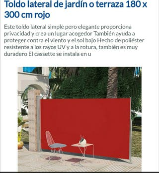 toldo lateral 180x300 rojo