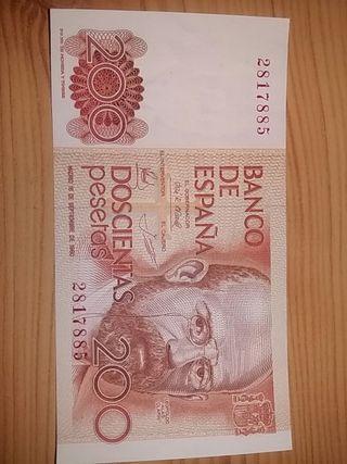 BONITO BILLETE DE 200 PTAS SIN SERIE EN PLANCHA: