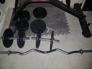 Kit musculación gimnasio. Banco pesas y mancuernas