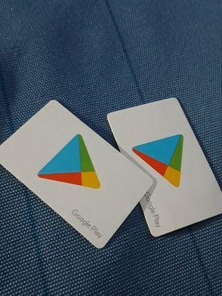 Vendo tarjetas canjeables Google Play 15 euros