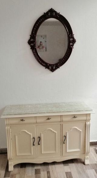 se vende zapatera y espejo antiguo para restaurar